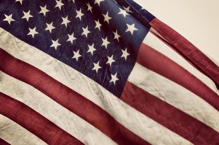 Close-up van de Amerikaanse vlag. Vintage toon.