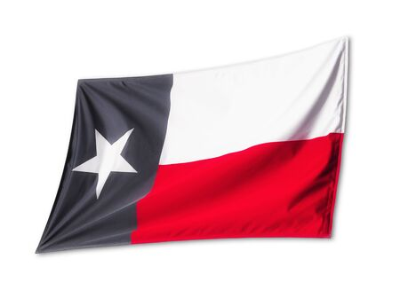 Waving State Flag of Texas isolated on white background