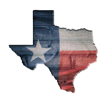 Texas flag wood texture on the state map outline against wooden board background. Vintage effects. Isolated on white.