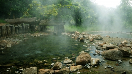 hot springs: Hot springs in thailand                                        Stock Photo