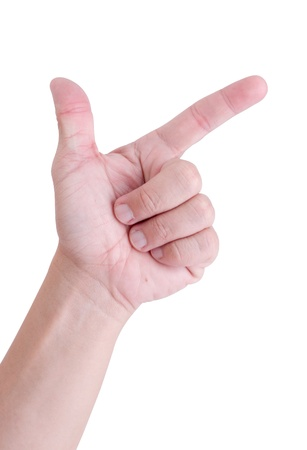 Man hand holding two fingers on a white background  photo