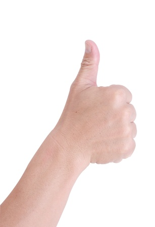 Man hand holding a thumb on a white background. photo
