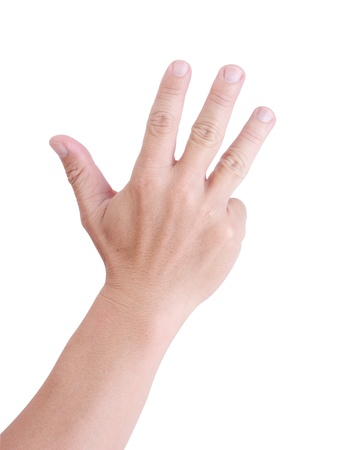 comp: Man hand holding four fingers on a white background.
