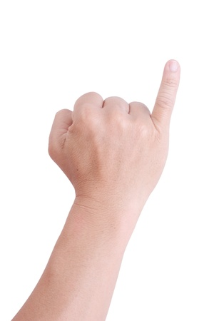 Man hand holding one fingers on a white background. photo