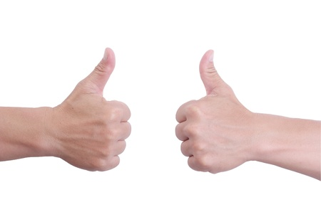 Man hand holds finger symbol on white background. photo