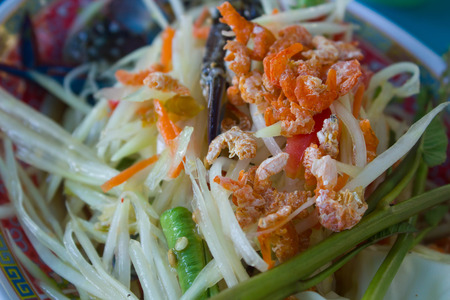 somtum: Somtum or papaya salad, Thai food