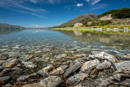 Blue sky and clear water, Wanaka Lake in South island, New Zealand