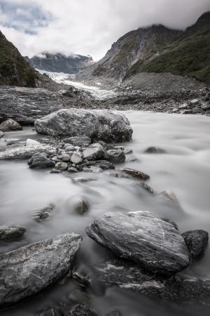 Stream from Fox glacier, South island, New Zealand Stock Photo - 17239543