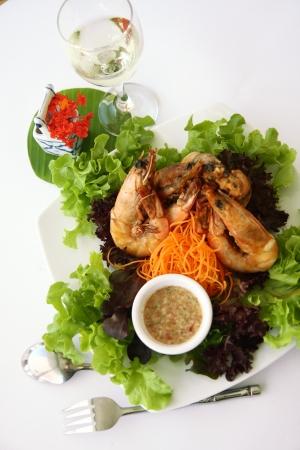 Thai food Garlic prawns stir fried  photo