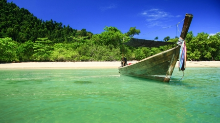 Long tail boats, Tropical beach, Andaman Sea, Thailand  photo