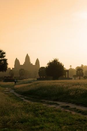 Sunrise at angkor wat temple, Cambodia  photo