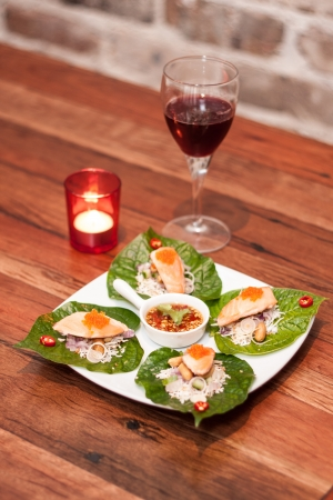 Thai appetizer with wine   photo