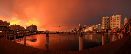 centrepoint tower: Panorama view of sunset at darling harbour,Sydney