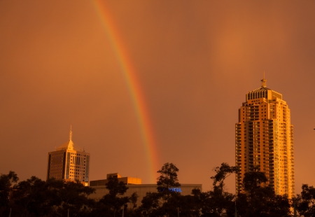 Rainbow over Sydney city, Australia   photo