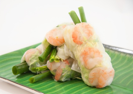 Vietnamese spring rolls with lettuce, mint, shrimp and vermicelli  photo