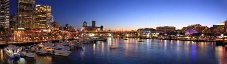 Panorama nacht scence van Darling Harbour, Sydney Stockfoto