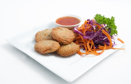Thai appetizer, Spicy fried fish cake  Tod Mun Pla   Stock Photo