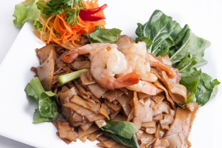 Pad See Ew, flat rice noodle stir fried with prawn