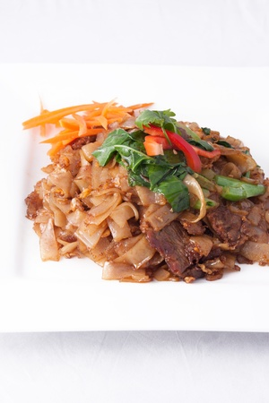 Pad See Ew, flat rice noodle stir fried with beef