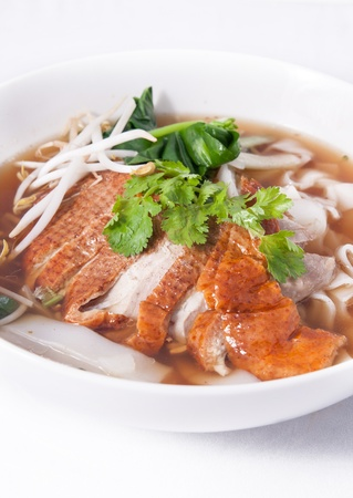 Asian Peking Duck noodle soup