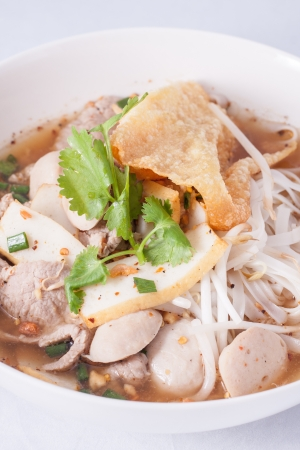 noodle soup with fish ball and pork   photo