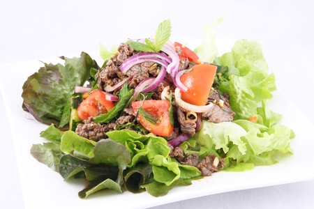 Thai beef salad, grill beef with salad   photo