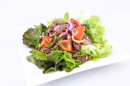 Thai beef salad, grill beef with salad