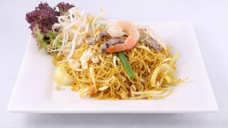 Sigapore noodles fritos com macarr�o vermicelli Banco de Imagens