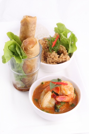 Thai food set with rice and spring roll