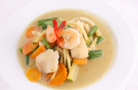 Prawn green curry, Thai popular food   photo