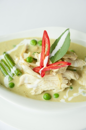 Chicken green curry, Thai food   Stock Photo