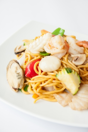 Hokkien noodles with seafood   Stock Photo