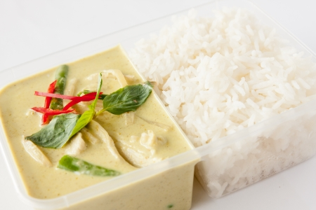 Thai take away food, green curry with rice   photo