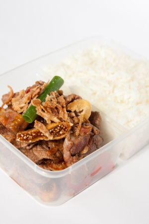 Thai take away food, garlic beef with rice  photo