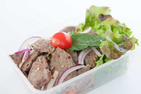 Thai take away food, Thai beef salad  photo