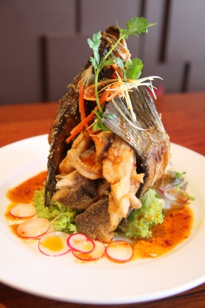 Thai deep fried fish  photo