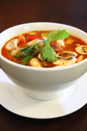 popular soup: Tom yum prawn, Thai popular soup Stock Photo