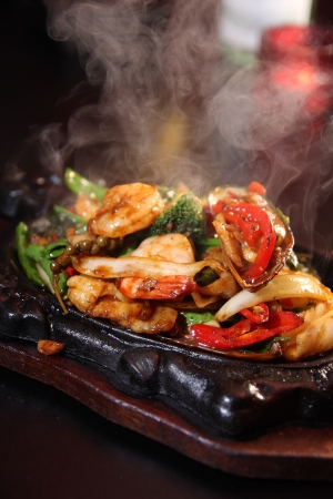 seafood platter: Seafood sizzling Stock Photo
