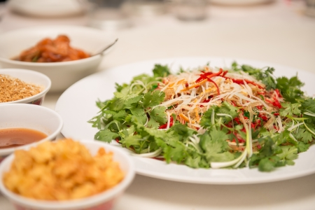 Raw fish salad  also known as Yu Sheng or Lo Hei , a Chinese New year 版權商用圖片