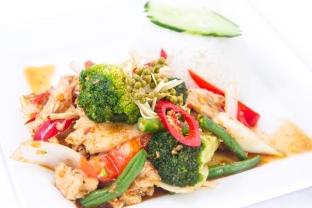 Stir fried spicy Thai herbs with jasmine rice