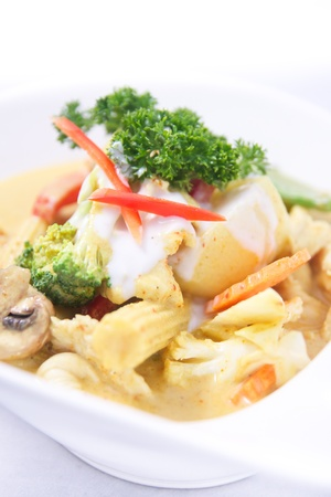 Thai yellow curry with mix vegetables   photo