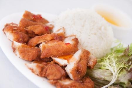 frango frito com arroz Banco de Imagens