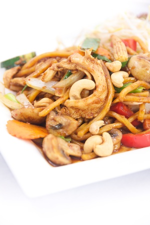 Chicken chili jam cashew nut with hokkien noodle photo