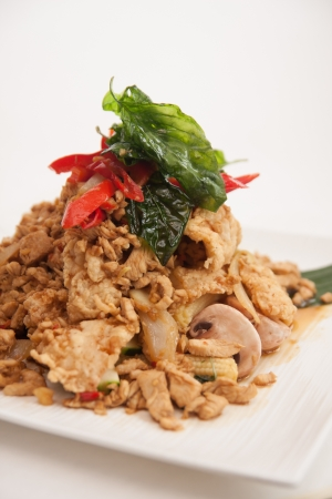 Deep fried soft shell carb and chicken basil stir fried  photo