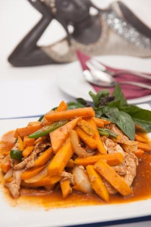 Thai food, Stir fried pumpkin with egg