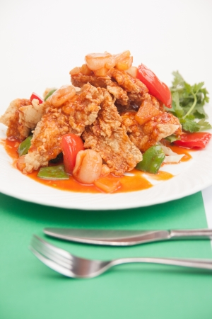 Thai food, sweet and sour with deep fried fish   Stock Photo