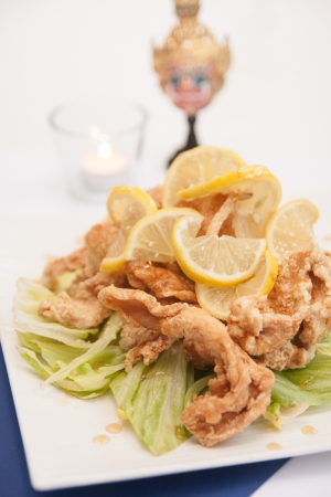 suppertime: Deep fried chicken with honey and lemon sauce