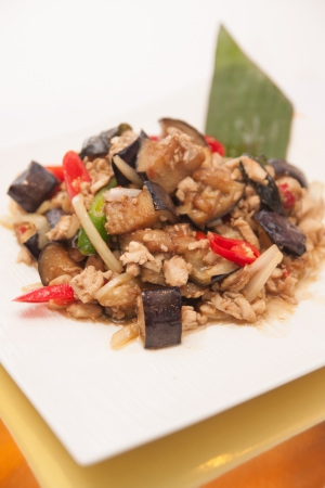 egg plant: Stir fried egg plant, Thai food   Stock Photo