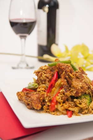 Deep fried soft shell crab with curry powder, Thai food