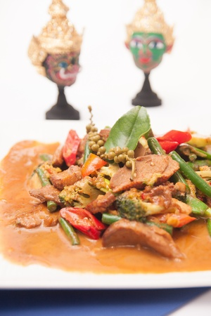 RED CURRY WITH GRILL DUCK AND THAI HERB  photo